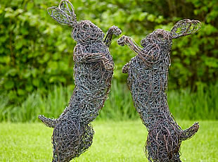 Wire Sculpture of Mad March Hares
