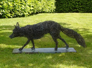 Tally Ho. A bronze wire life-size study of a fox on a bronze plinth. £5400 (Also available in mild steel £4000).